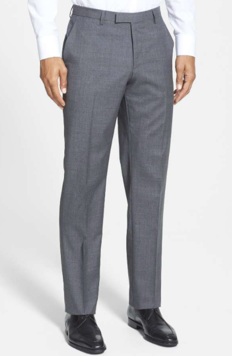 BOSS 'Sharp' Flat Front Wool Trousers