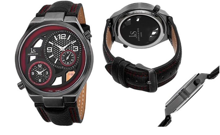 Clearance: Joshua & Sons Men's Dual-Time Swiss Watches with Genuine Leather Band