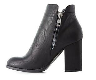 Zipper-Trim Ankle Booties