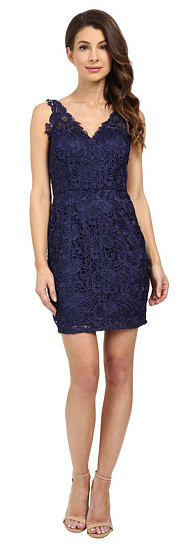 Aidan Mattox V-Neck All Over Lace Cocktail Dress