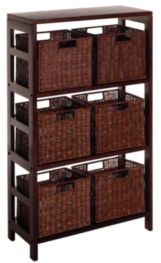 Winsome Leo 3-Shelf Wood Bookcase with 6 Small Baskets