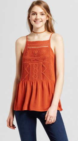 Women's Crochet Apron Cami Rust - Mossimo Supply Co