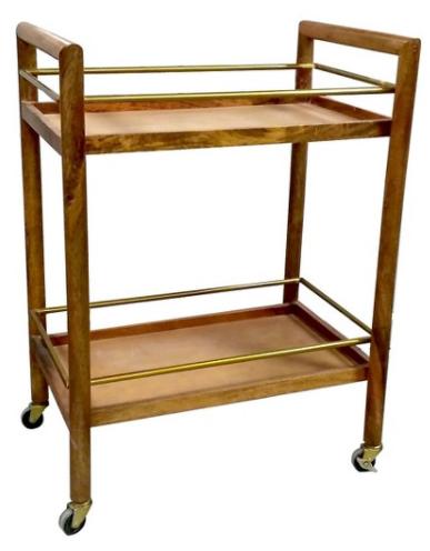 Wood and Gold Bar Cart - Threshold™