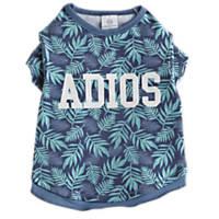 Bond & Co. Adios Blue Palm Print Dog T-Shirt, Extra Small