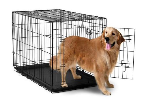 "OxGord 42"" Heavy Duty Foldable Double Door Dog Crate with Divider and Removable ABS Plastic Tray, 42"" x 27"" x 30"""