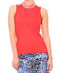 LIJA Women's Jacquard Mandarin Sleeveless Polo