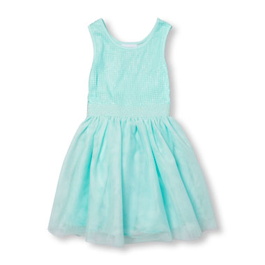 Girls Sleeveless Sequin Mesh Dress