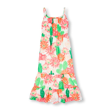 Girls Sleeveless Cactus Bloom Print Maxi Dress
