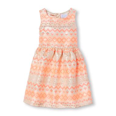 Girls Sleeveless Geo Print Foil Jacquard Neon Dress