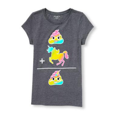 Girls Short Sleeve (Rainbow Swirl Emoji) + (Rainbow Unicorn Emoji) = (Rainbow Unicorn Swirl Emoji) Graphic Tee