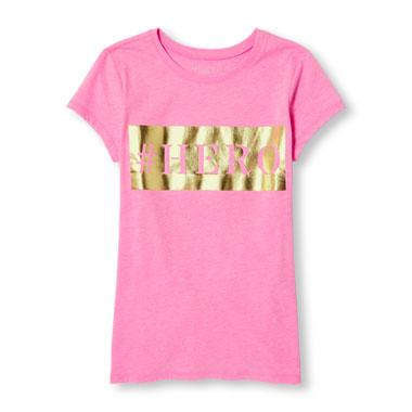 Girls Short Sleeve 'HERO' Foil Neon Graphic Tee