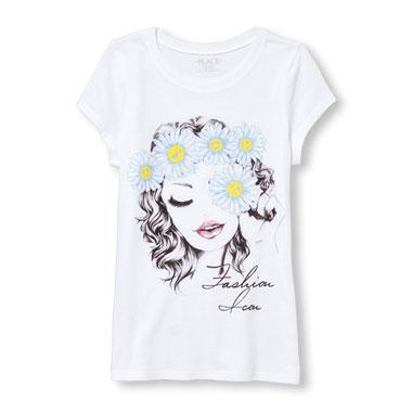 Girls Short Sleeve Glitter 'Fashion Icon' Boho Fashionista Graphic Tee