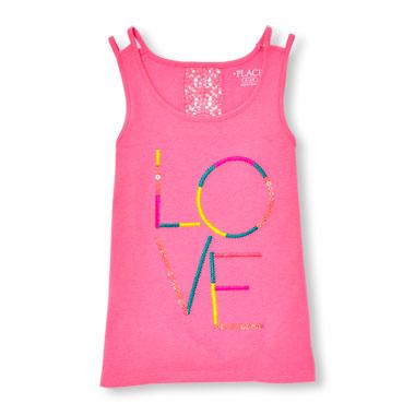 Girls Sleeveless Embellished Graphic Crochet Back Top