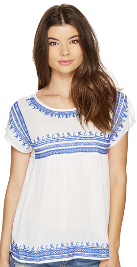 ROMEO & JULIET COUTURE Embroidered Gauze Peasant Top
