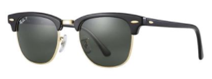 Ray-Ban Polarized Clubmaster Sunglasses Black Frame with G-15 Polarized Lens RB3016 901/58 51mm