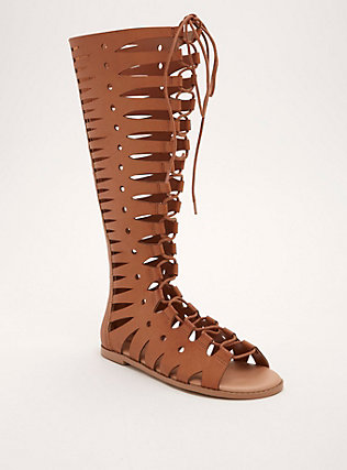 Cutout Lace Up Knee High Sandals (Wide Width)