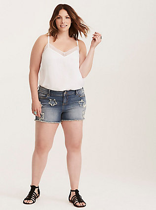 Torrid Skinny Short Shorts - Medium Wash with Star Patches