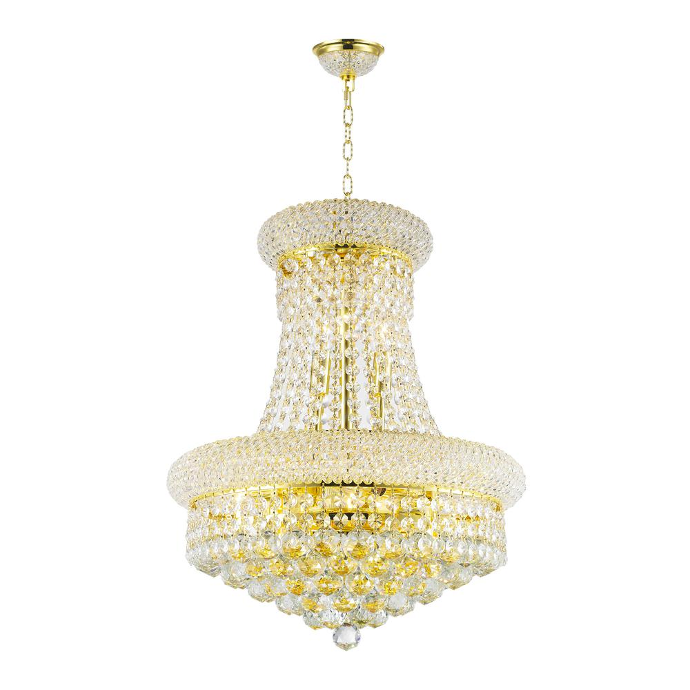 Worldwide Lighting Empire 8-Light Polished Gold and Clear Crystal Chandelier