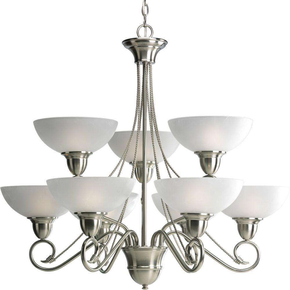 Progress Lighting Pavilion Collection 9-Light Brushed Nickel Chandelier
