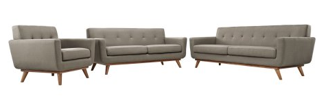 Modern Contemporary Sofa Loveseat and Armchair (set of three), Grey Fabric