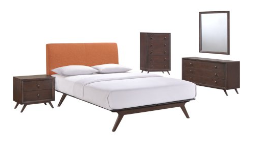 Modern Contemporary Five PCS Queen Size Bedroom Set, Orange, Fabric, Wood