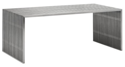Modern Contemporary Dining Table, Silver Glass Brushed Stainless Steel