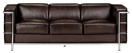 Modern Contemporary Living Room Sofa, Brown Leather Chrome Steel