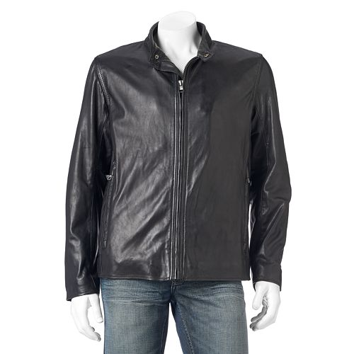 Men's Andrew Marc Calf Leather Racer Jacket