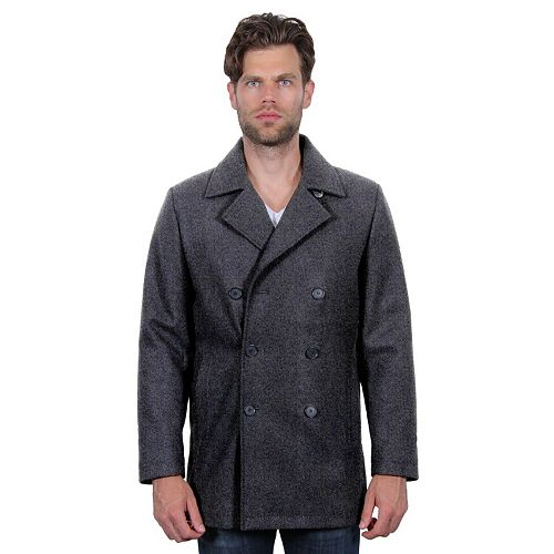 Men's Tahari Elements Double-Breasted Wool-Blend Waterproof Peacoat