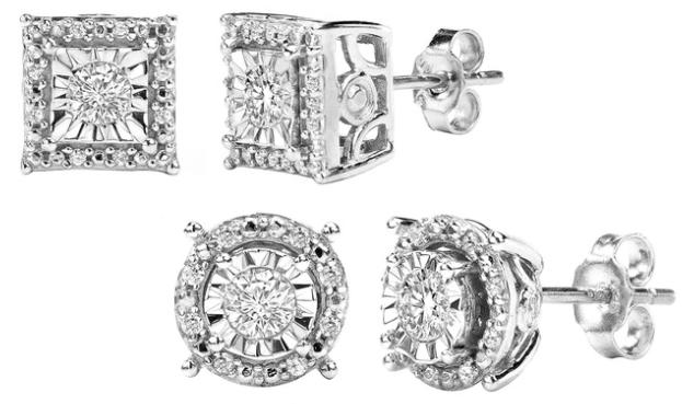 1/4 CTTW Diamond Stud Earrings in Sterling Silver