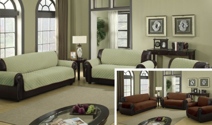 Water-Resistant Reversible Slipcover for Love Chair