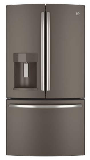 GE - 21.9 Cu. Ft. Counter-Depth French Door Refrigerator with Thru-the-Door Ice and Water - Slate
