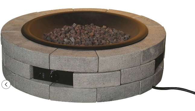 Bond Round DIY Fire Pit with Envirostone Bricks - Gray and Black
