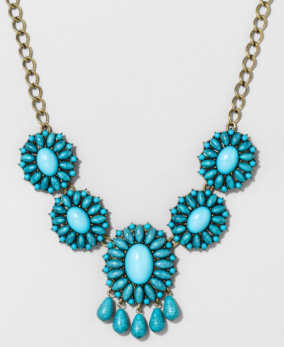 SUGARFIX by BaubleBar™ Floral Statement Necklace with Fringe Detail - Turquoise