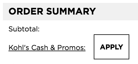 Where to enter Kohls promo code