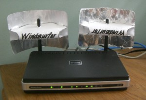 My D-Link router with the windsurfers attached.
