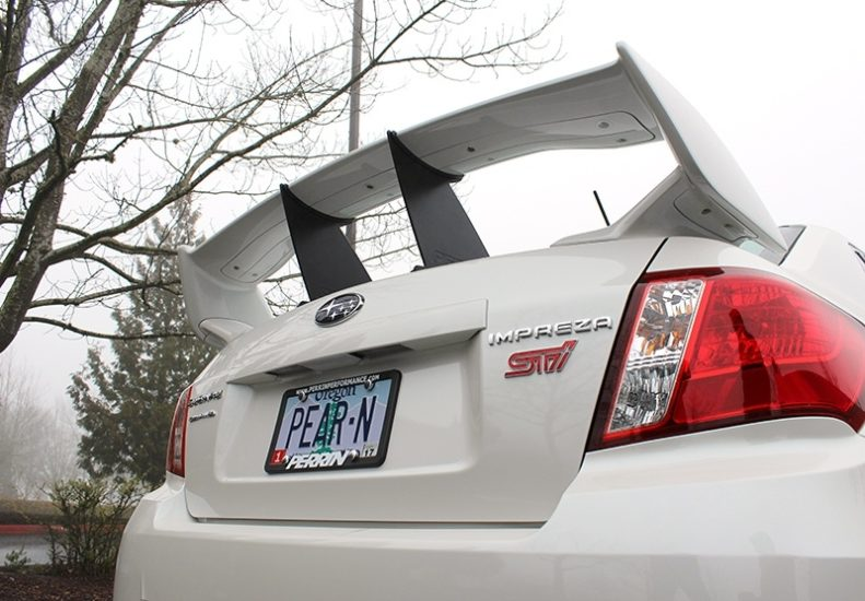 Two PERRIN Wing Stabilizers on 2011-2014 STI Sedan