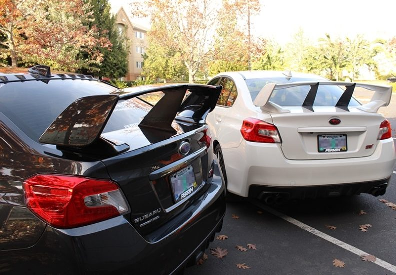 One and Two PERRIN Wing Stabilizers on 2015-2017 STI Sedan