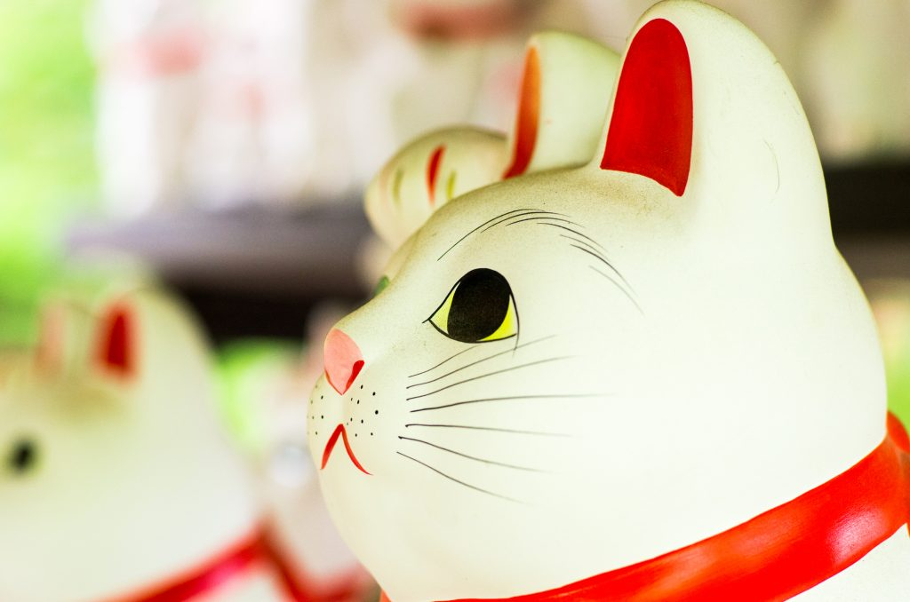 Beckoning cats at Gotokuji-temple,setagaya area,tokyo,tourism of japan