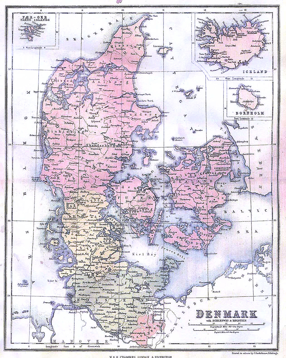 Denmark Iceland Bornholm Schleswig Holstein Map 1867 Philatelic Database