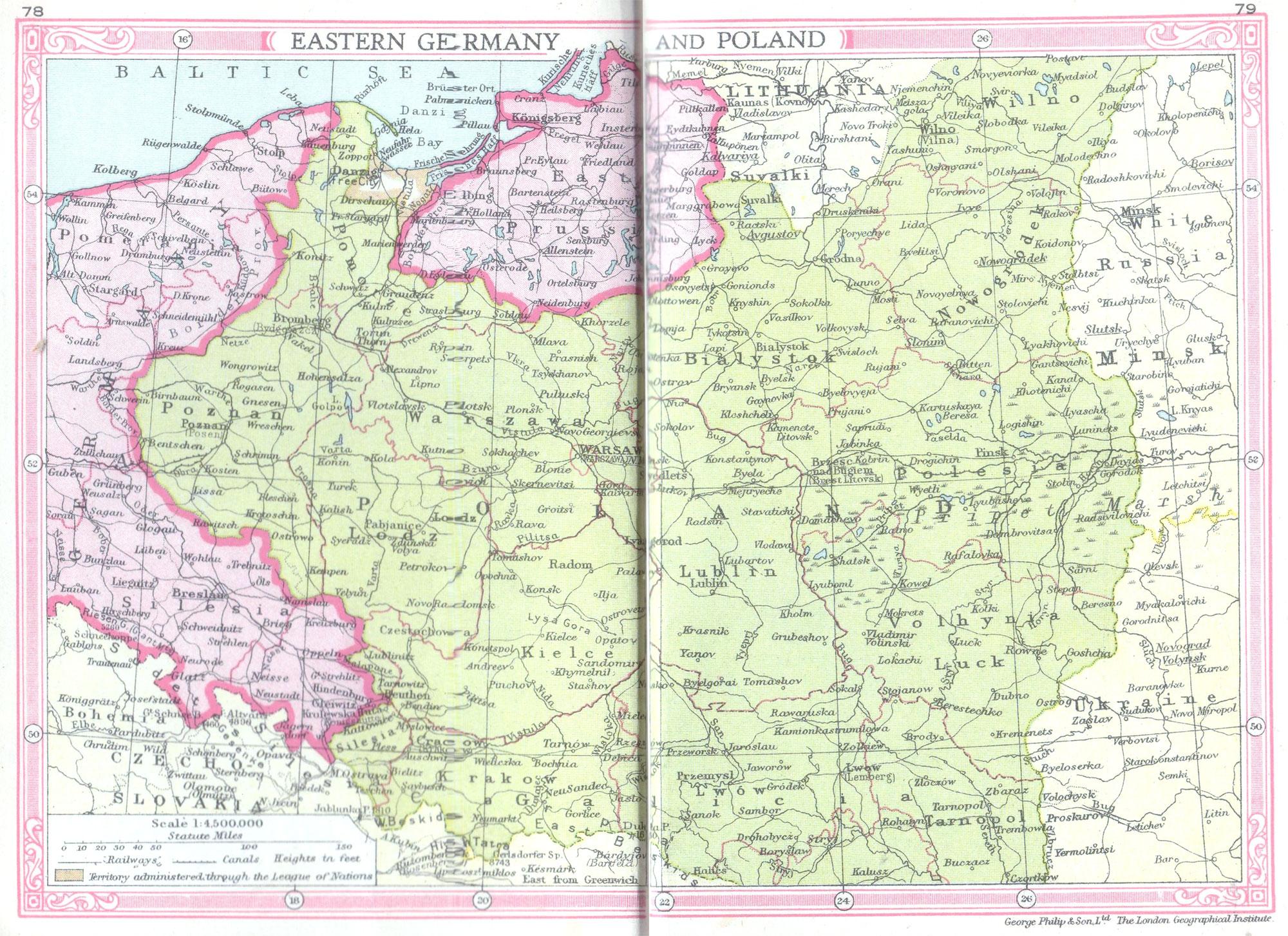 map of eastern europe 1935 Poland & Eastern Germany Map (1935)   Philatelic Database