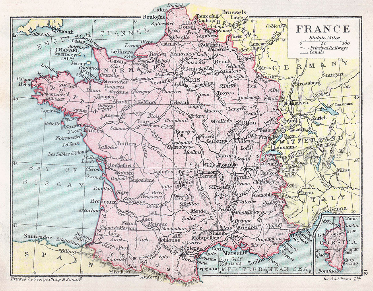Map Of France During World War Ii.France Map And Statistical Information 1914 Philatelic