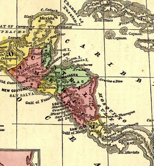 Map Of America History.Historical Map Of Central America 1860 Philatelic Database