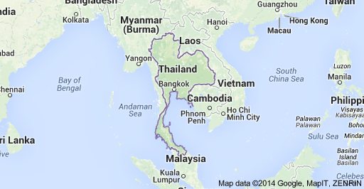 Map showing Location of Thailand in South-East Asia ...