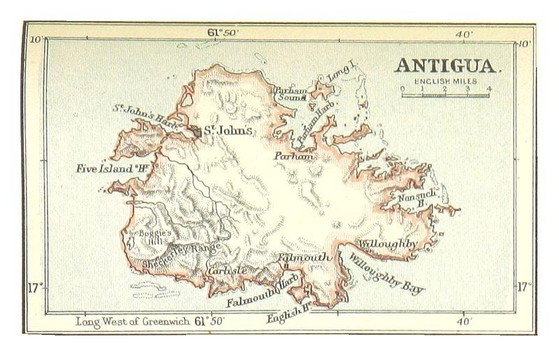 英国西印度群岛:安提瓜县地图(1888年)