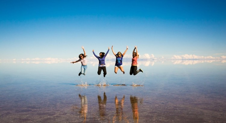Jumping Uyuni Salt Flat