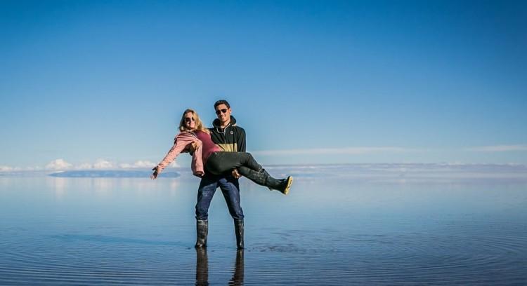 Couple on the Uyuni Salt Flat