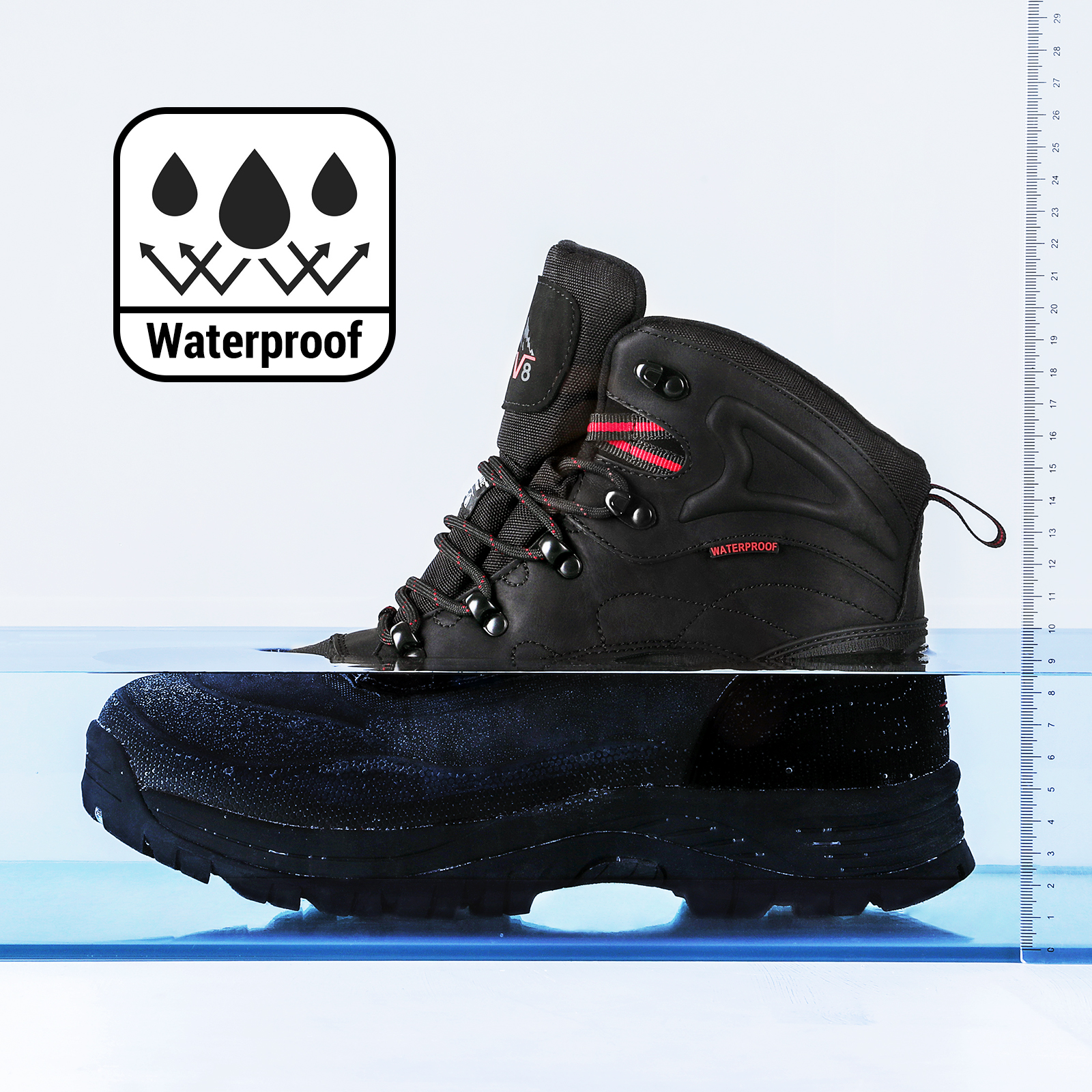NORTIV 8 Mens 170410 Insulated Waterproof Construction Hiking Winter Snow Boots