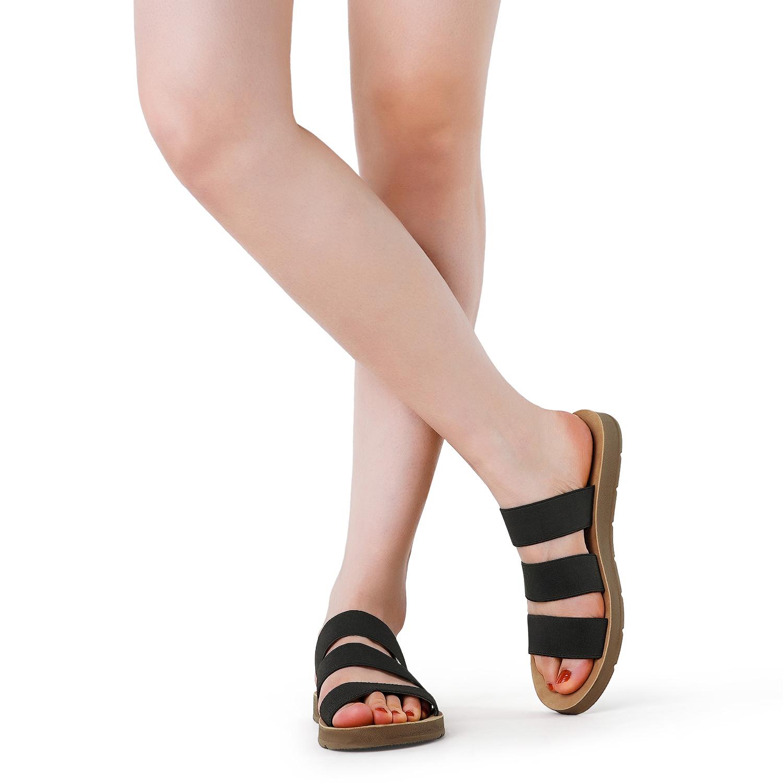 DREAM PAIRS Womens Flat Slide Sandals Summer Open Toe Slip on Sandals