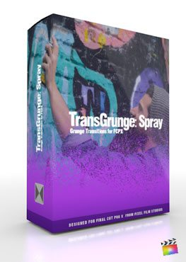 Final Cut Pro X Plugin TransGrunge Spray from Pixel Film Studios